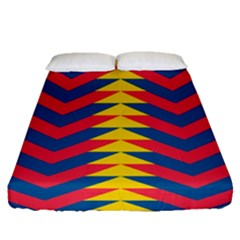 Lllustration Geometric Red Blue Yellow Chevron Wave Line Fitted Sheet (queen Size) by Mariart