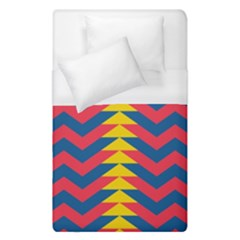 Lllustration Geometric Red Blue Yellow Chevron Wave Line Duvet Cover (single Size) by Mariart