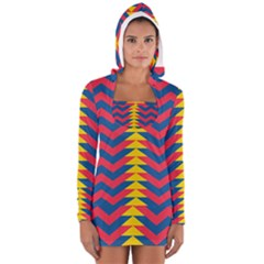 Lllustration Geometric Red Blue Yellow Chevron Wave Line Women s Long Sleeve Hooded T-shirt by Mariart