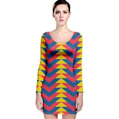 Lllustration Geometric Red Blue Yellow Chevron Wave Line Long Sleeve Velvet Bodycon Dress by Mariart