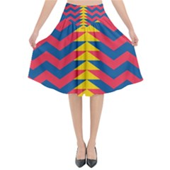 Lllustration Geometric Red Blue Yellow Chevron Wave Line Flared Midi Skirt by Mariart