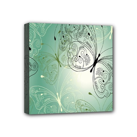 Glass Splashback Abstract Pattern Butterfly Mini Canvas 4  X 4  by Mariart
