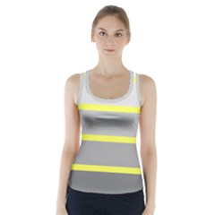 Molly Gender Line Flag Yellow Grey Racer Back Sports Top