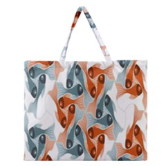 Make Tessellation Fish Tessellation Blue White Zipper Large Tote Bag by Mariart