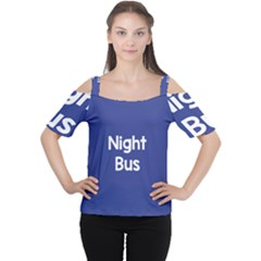 Night Bus New Blue Women s Cutout Shoulder Tee by Mariart