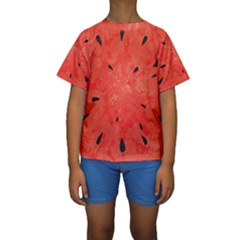 Summer Watermelon Design Kids  Short Sleeve Swimwear by TastefulDesigns