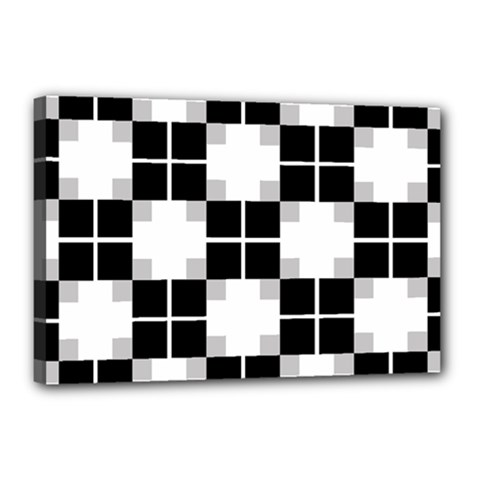 Plaid Black White Canvas 18  X 12  by Mariart