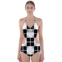 Plaid Black White Cut-out One Piece Swimsuit by Mariart