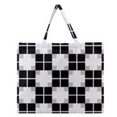Plaid Black White Zipper Large Tote Bag