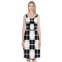 Plaid Black White Midi Sleeveless Dress by Mariart