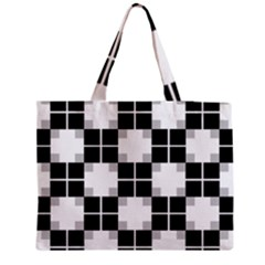 Plaid Black White Medium Tote Bag by Mariart