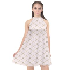 Plaid Star Flower Iron Halter Neckline Chiffon Dress
