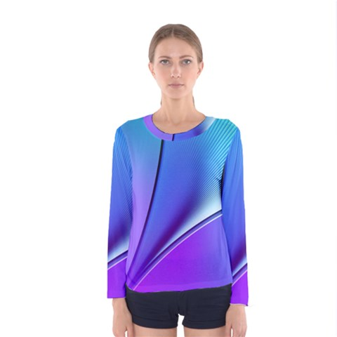 Line Blue Light Space Purple Women s Long Sleeve Tee by Mariart