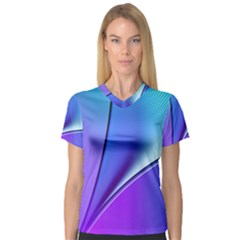 Line Blue Light Space Purple Women s V Neck Sport Mesh Tee by Mariart