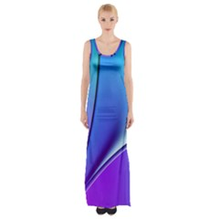 Line Blue Light Space Purple Maxi Thigh Split Dress