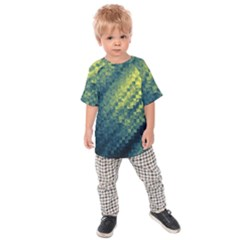 Polygon Dark Triangle Green Blacj Yellow Kids  Raglan Tee