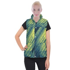 Polygon Dark Triangle Green Blacj Yellow Women s Button Up Puffer Vest by Mariart