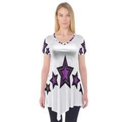 Star Purple Space Short Sleeve Tunic