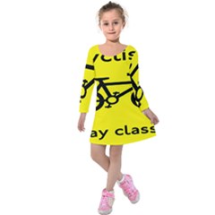 Stay Classy Bike Cyclists Sport Kids  Long Sleeve Velvet Dress by Mariart