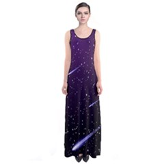 Starry Night Sky Meteor Stock Vectors Clipart Illustrations Sleeveless Maxi Dress by Mariart