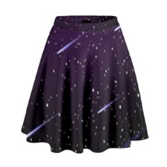 Starry Night Sky Meteor Stock Vectors Clipart Illustrations High Waist Skirt by Mariart