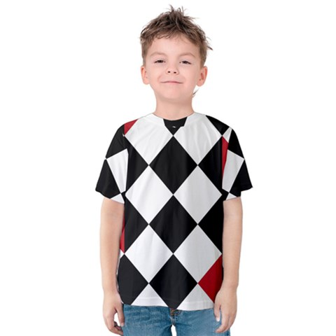 Survace Floor Plaid Bleck Red White Kids  Cotton Tee by Mariart