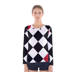 Survace Floor Plaid Bleck Red White Women s Long Sleeve Tee by Mariart