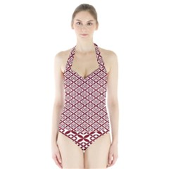 Pattern Kawung Star Line Plaid Flower Floral Red Halter Swimsuit by Mariart