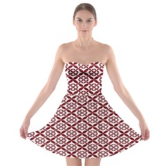 Pattern Kawung Star Line Plaid Flower Floral Red Strapless Bra Top Dress