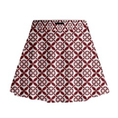 Pattern Kawung Star Line Plaid Flower Floral Red Mini Flare Skirt by Mariart