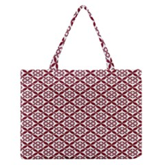 Pattern Kawung Star Line Plaid Flower Floral Red Medium Zipper Tote Bag by Mariart