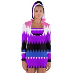 Sychnogender Techno Genderfluid Flags Wave Waves Chevron Women s Long Sleeve Hooded T Shirt by Mariart