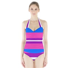 Transgender Flags Halter Swimsuit by Mariart