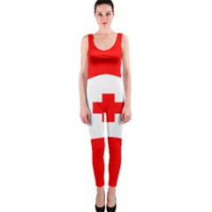 Tabla Laboral Sign Red White Onepiece Catsuit by Mariart