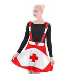 Tabla Laboral Sign Red White Suspender Skater Skirt by Mariart