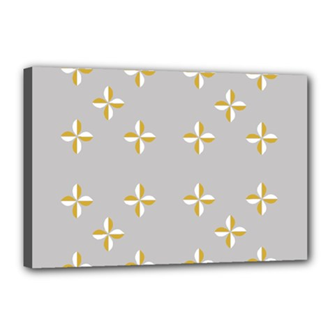 Syrface Flower Floral Gold White Space Star Canvas 18  X 12  by Mariart