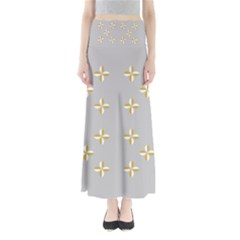 Syrface Flower Floral Gold White Space Star Maxi Skirts by Mariart