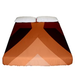Volcano Lava Gender Magma Flags Line Brown Fitted Sheet (queen Size) by Mariart