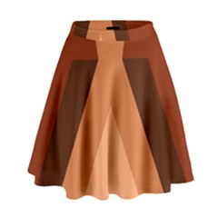 Volcano Lava Gender Magma Flags Line Brown High Waist Skirt by Mariart
