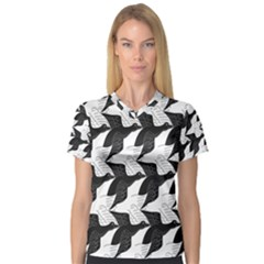 Swan Black Animals Fly Women s V Neck Sport Mesh Tee by Mariart