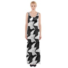Swan Black Animals Fly Maxi Thigh Split Dress