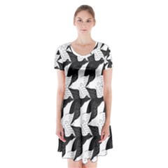 Swan Black Animals Fly Short Sleeve V Neck Flare Dress by Mariart