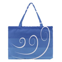 Ventigender Flags Wave Waves Chevron Leaf Blue White Medium Tote Bag by Mariart