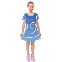 Ventigender Flags Wave Waves Chevron Leaf Blue White Kids  Short Sleeve Velvet Dress by Mariart