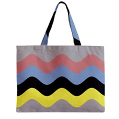 Wave Waves Chevron Sea Beach Rainbow Zipper Mini Tote Bag by Mariart