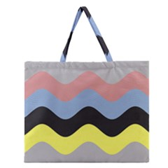 Wave Waves Chevron Sea Beach Rainbow Zipper Large Tote Bag by Mariart