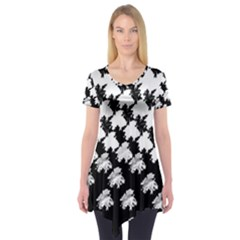Transforming Escher Tessellations Full Page Dragon Black Animals Short Sleeve Tunic  by Mariart