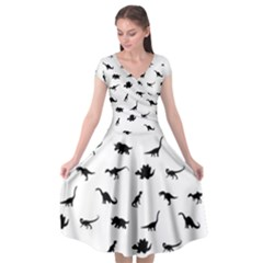 Dinosaurs Pattern Cap Sleeve Wrap Front Dress