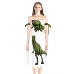 Dinosaurs T Rex Shoulder Tie Bardot Midi Dress by Valentinaart