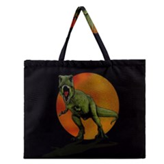 Dinosaurs T Rex Zipper Large Tote Bag by Valentinaart